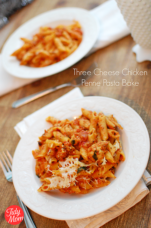 Three Cheese Chicken Penne Pasta Bake