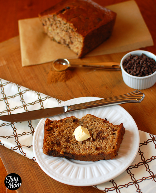 The cinnamon and chocolate chips are the surprise flavors in this family favorite Chocolate Chip Banana Bread recipe! Find the recipe at TidyMom.net