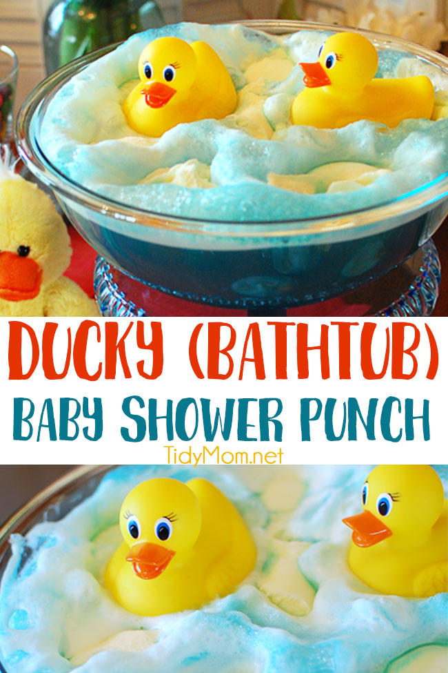 This Adorable Ducky Baby Shower Punch made with blue Kool-Aid gives the look of bath water and bubbles made of sherbet mixed with the ginger ale for the perfect party refreshment. Get this party punch recipe at TidyMom.net #punch #babyshower #birthday #ducks