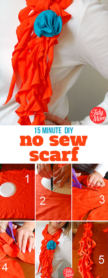 Have the latest fashion accessory!! Learn how to turn t-shirts into scarfs in just minutes - no sewing required!  15 minute DIY  T-Shirt Scarf Tutorial at TidyMom.net