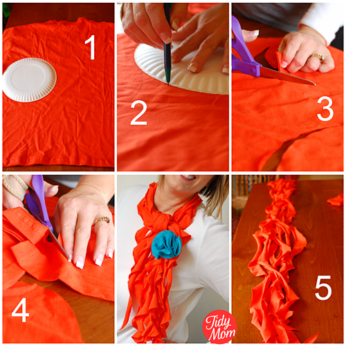 How to make a scarf using a t-shirt! no sewing required at TidyMom.net