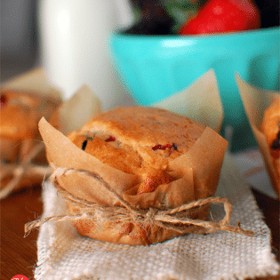 Berry Muffin with parchment wrapper