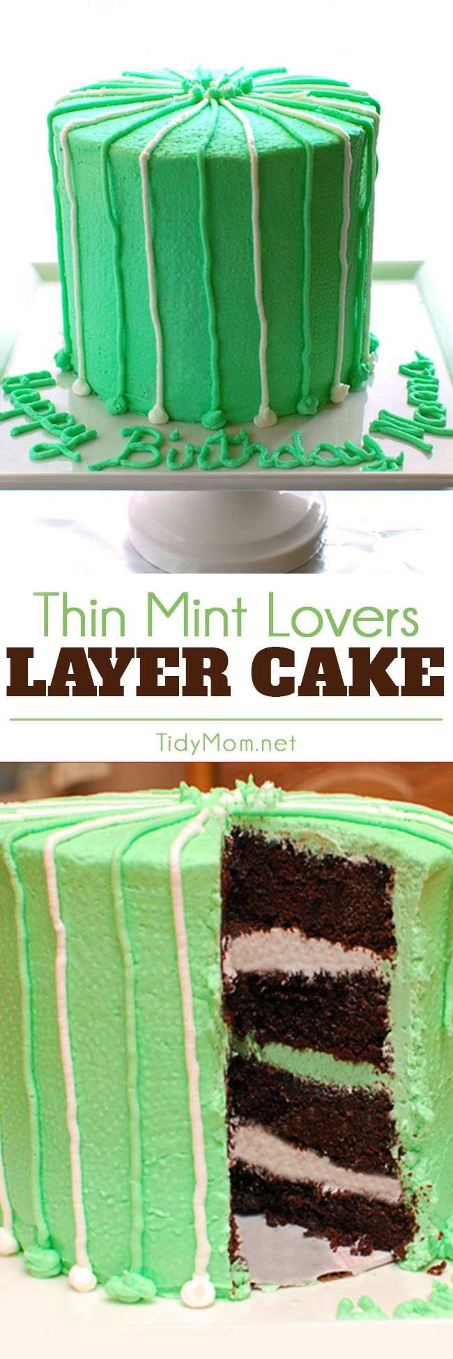 The perfect blend of moist chocolate and peppermint cake with vanilla buttercream in this Thin Mint Cake will have them coming back for more. It's an easy and delicious dessert perfect for the chocolate mint lovers! Print the full recipe, and found out what surprise ingredient makes this cake SO moist and delicious at TidyMom.net #cake #chocolate #mint #chocolatecake #birthdaycake #thinmint