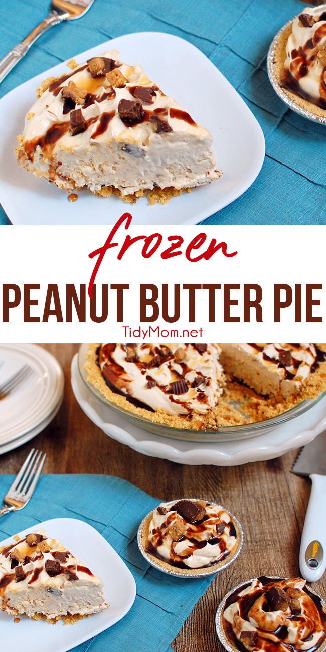 Peanut butter lovers will rejoice over this retro Frozen Peanut Butter Pie with cream cheese and peanut butter filling and graham cracker crust that's ideal for any occasion. Print the full recipe at TidyMom.net . #peanutbutter #pie #dessert #recipe