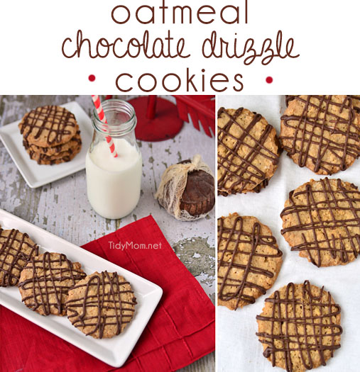 Oatmeal Chocolate Drizzle Cookies!  recipe at TidyMom.net