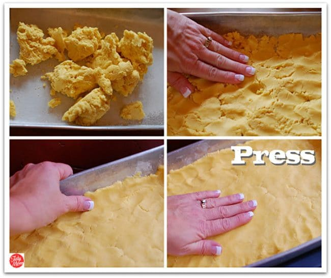making the crust for Gooey Butter Cake