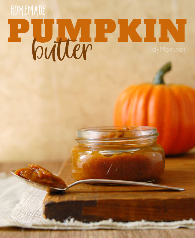 Pumpkin lovers will enjoy this simple low fat pumpkin butter recipe, it's like pumpkin pie in a jar. A seasonal treat with breads, waffles, ice cream or yogurt. Print the full HOMEMADE PUMPKIN BUTTER RECIPE at TidyMom.net