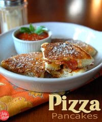 A fun twist on pizza, using a basic pancakes recipe and adding favorite pizza toppings. These savory pizza pancakes are perfect for game day, after-school snacking or a quick dinner the whole family will love. Serve with warm pizza sauce for dipping. Print full recipe at TidyMom.net