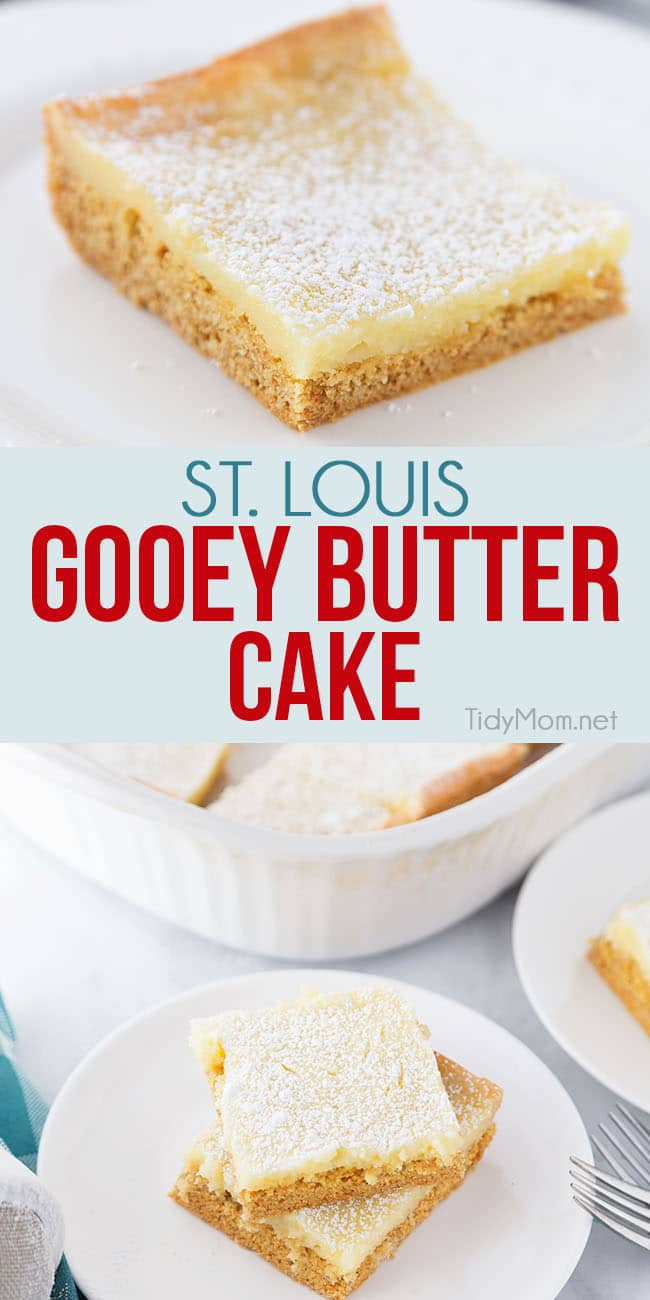 Gooey Butter coffee cake is a St. Louis tradition, where the cake becomes the crust and holds a gooey cream cheese filling. It's generally served for breakfast, but can easily make an appearance on any dessert table. Print the full recipe at TidyMom.net #gooeybuttercake #cake #dessert #coffeecake