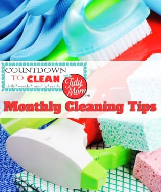 Countdown to Clean. Monthly Cleaning Tips at TidyMom.net Using this method, you'll get your house clean without back-breaking effort. Remember, the more often you clean, the less build up you'll have.
