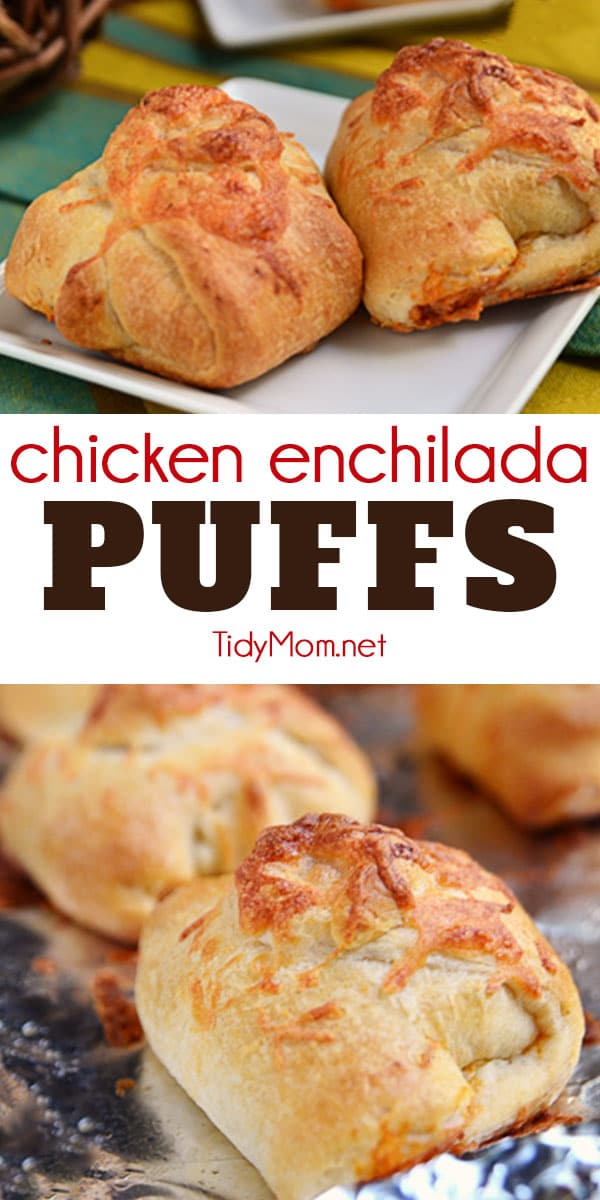 Turn chicken enchiladas into finger food! These delicious savory Chicken Enchilada Puffs are the perfect easy meal! Print #recipe + how-to video at TidyMom.net #chicken #enchiladas #appetizer #easydinner #recipevideo