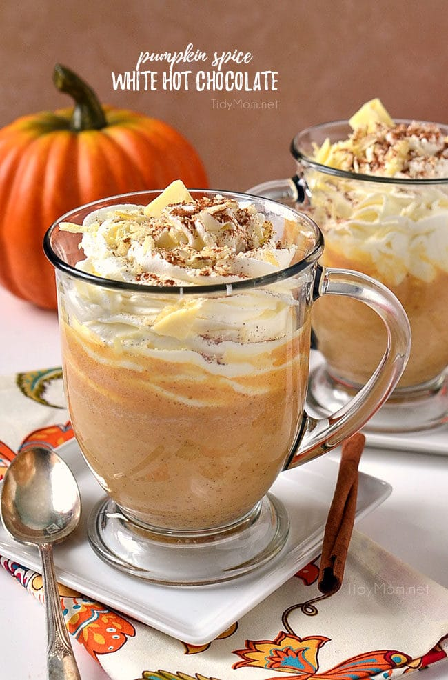 Pumpkin Spice White Hot Chocolate in clear mugs