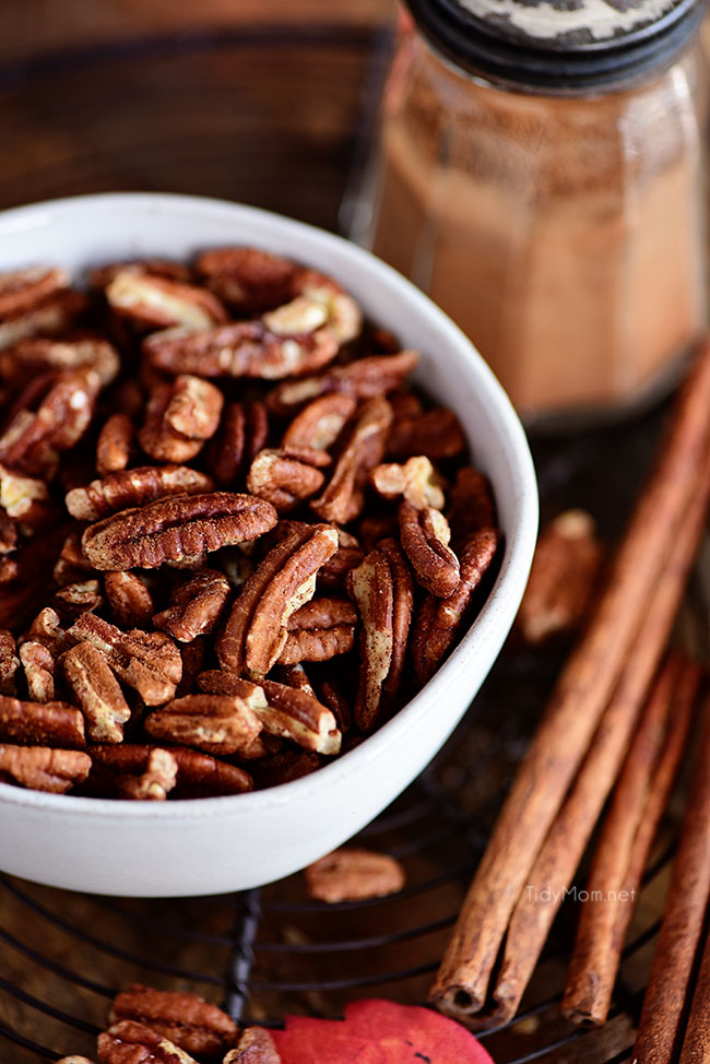 ake ordinary pecans to extraordinary and learn how to toast pecans. Enhance the flavor of pecans by toasting them in the oven. Toasted pecans are a wonderful addition to salads, desserts, oatmeal, snack mixes and more!  Add a sprinkle of cinnamon for Cinnamon Toasted Pecans. Get all the details at TidyMom.net