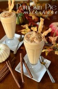 Pumpkin Pie Milkshake with Pie Crust Straws recipe at TidyMom.net