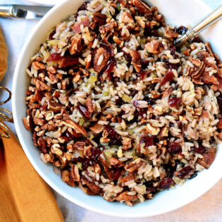cranberry pecan wild rice stuffing in a bowl