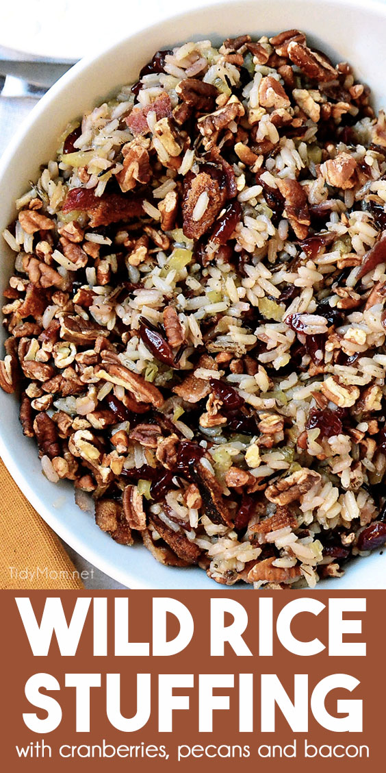 wild rice stuffing with cranberries in a bowl