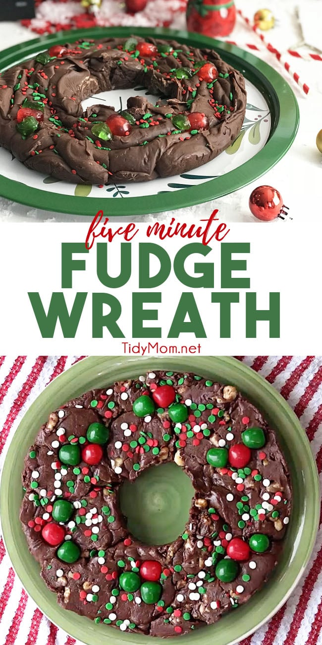 Five Minute Fudge Wreath is a super easy delicious fudge that has become a holiday tradition in our family. We've made other flavors, by replacing the peanut butter chips with mint or butterscotch or swap out the vanilla extract with whiskey! YIf you make this for gifts, you may discover you have way more friends than you know! Print the full recipe and watch the recipe video at TidyMom.net #fudge #christmas #wreath #handmadegift #chocolate