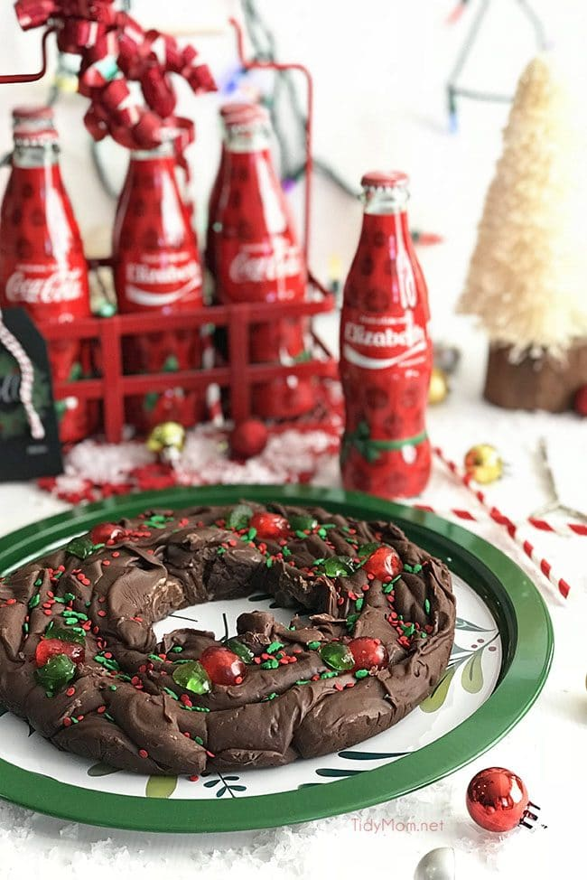 Five Minute Fudge Wreath on Christmas tray