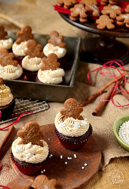 gingerbread cupcakes on display