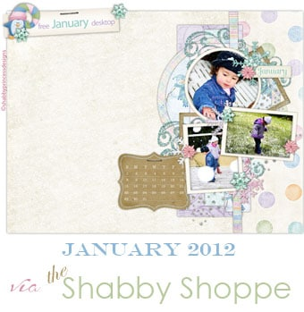Shabby Shoppe January 2012 free desktop background