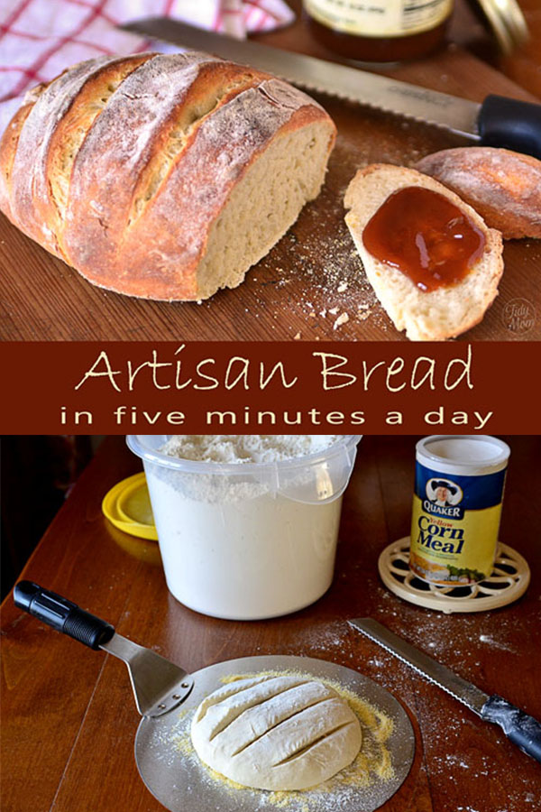 Follow the Artisan Bread in Five basic recipe and you can have homemade artisan bread with every day! It's so easy, this bread almost makes itself!  Details at TidyMom.net