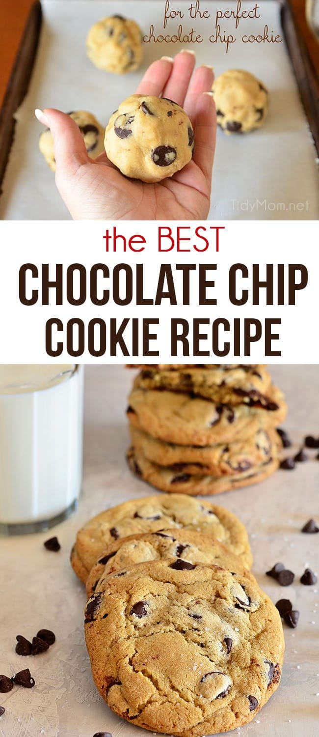the best chocolate chip cookies stacked with a glass of milk