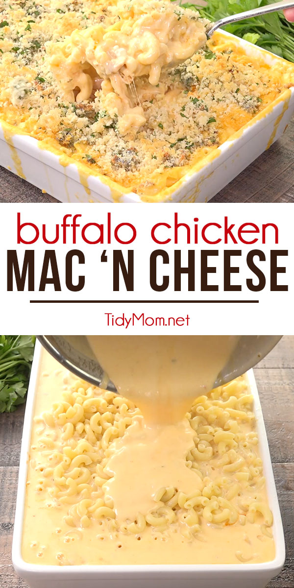 Buffalo Chicken Mac 'n Cheese A kick of hot sauce and chicken gives a new twist to this old classic,  mac 'n cheese recipe.  Print the full recipe + recipe video at TidyMom.net #macaroni #macandcheese #buffalochicken