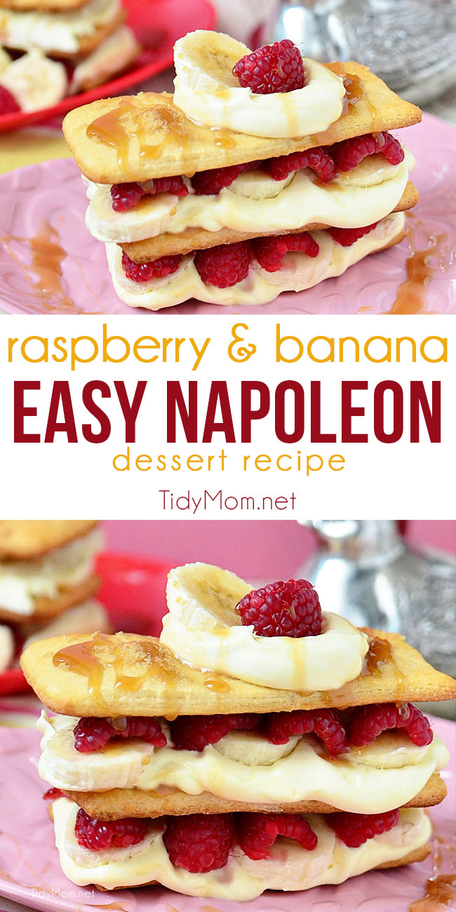You won't believe how quick and easy this Caramel Raspberry Banana Napoleon dessert recipe is to make!  Refrigerated crescent roll dough and pudding mix let you turn out a pastry shop-style napoleon in a flash! A simple yet elegant dessert for Valentines Day or any day!  Print the full recipe at TidyMom.net  #napoleondessert #raspberrynapoleon #frenchdesserts #raspberry #caramel #dessert #easydessert #valentinesday #napoleondessert #raspberrynapoleon #frenchdesserts