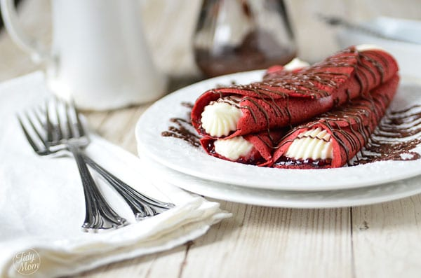 Red Velvet Crepes with Raspberry & Cream Cheese Filling recipe at TidyMom.net