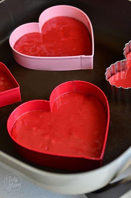 Red Velvet Heart Pancakes recipe at TidyMom.net