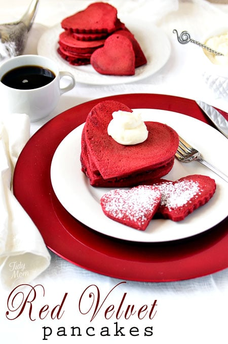 Red Velvet pancakes on a pate with a cup of coffee