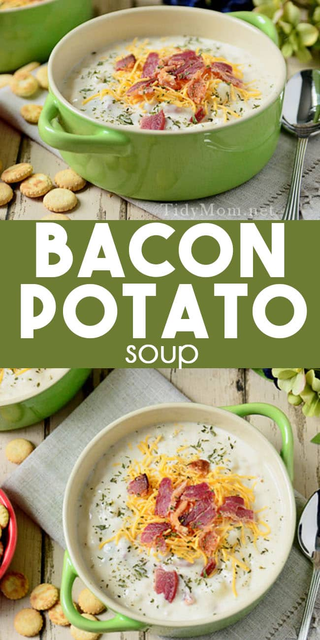 thick, creamy, hearty Bacon Potato Soup photo collage