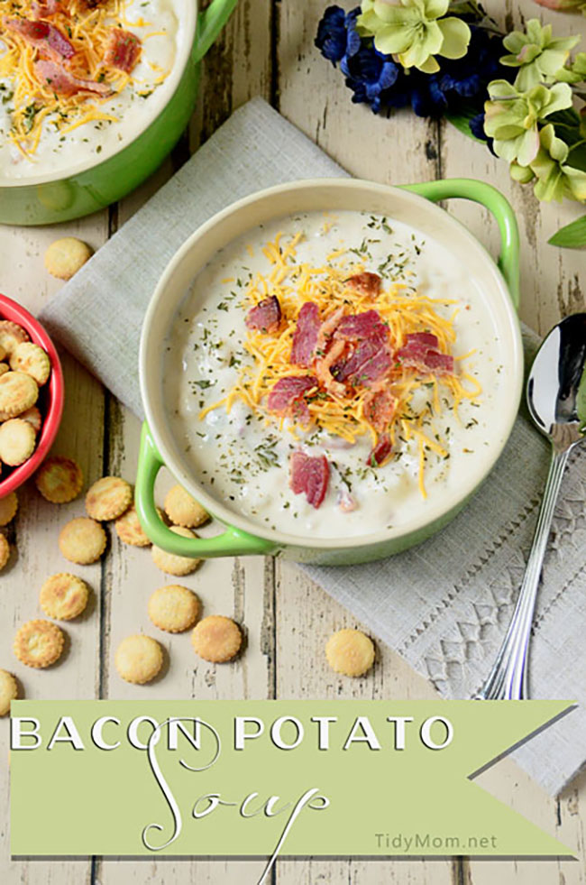 thick, creamy, hearty Bacon Potato Soup topped with cheese