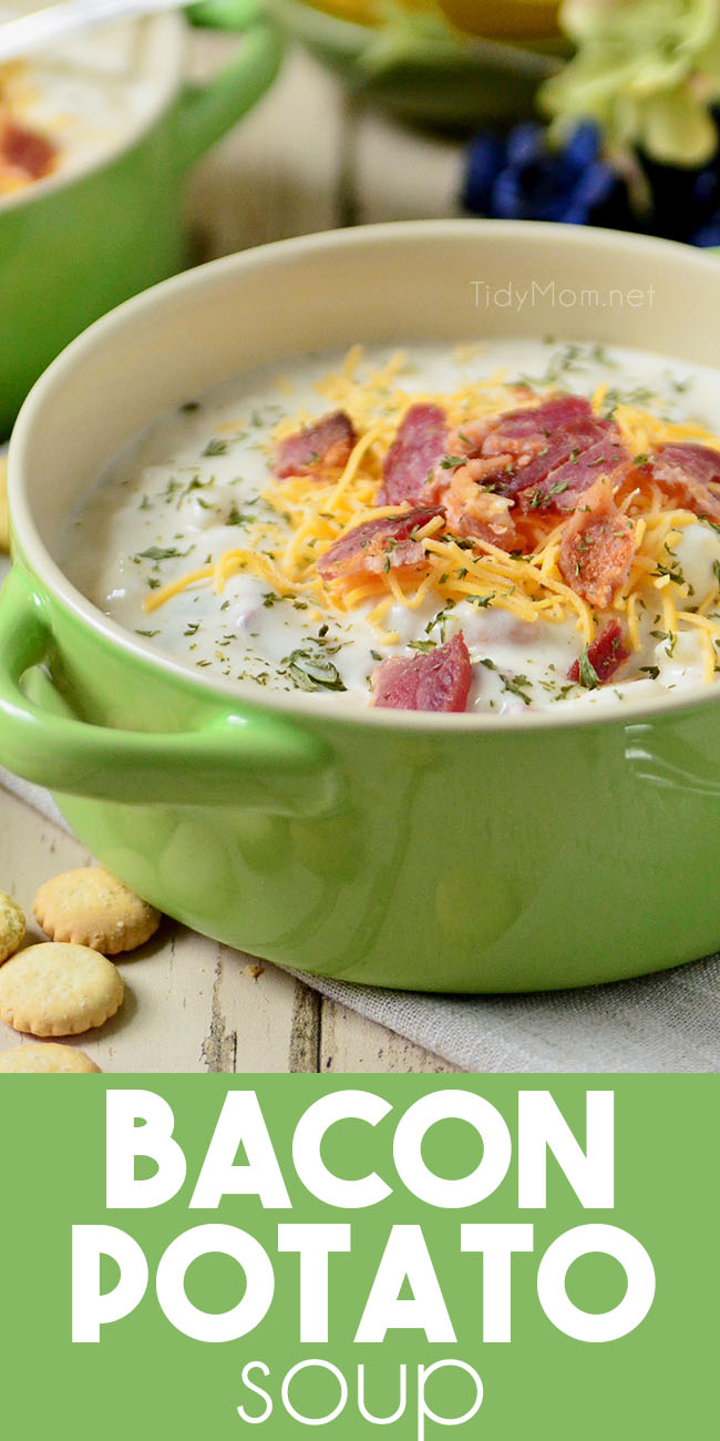 hearty Bacon Potato Soup in a green bowl