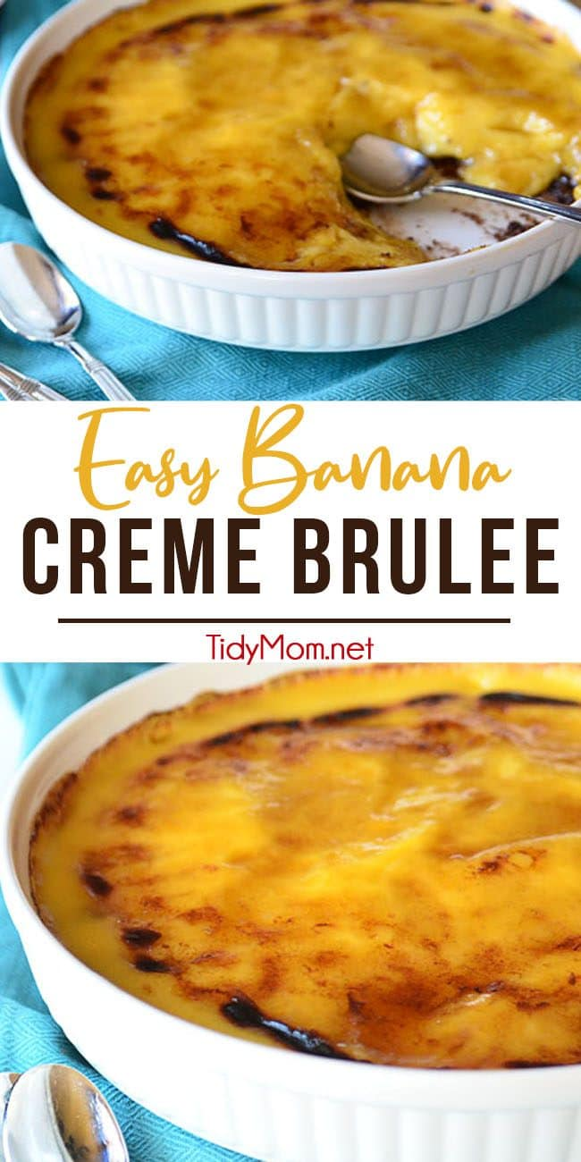 easy banana creme brulee photo collage