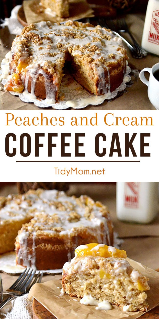 Poke your fork in this delicious Peaches and Cream Coffee Cake lifting out sweet peaches topped with a generous crumb and creamy glaze. Recipe video + printable recipe at TidyMom.net #coffeecake #breakfastcake #peach #peaches #breakfast #cake