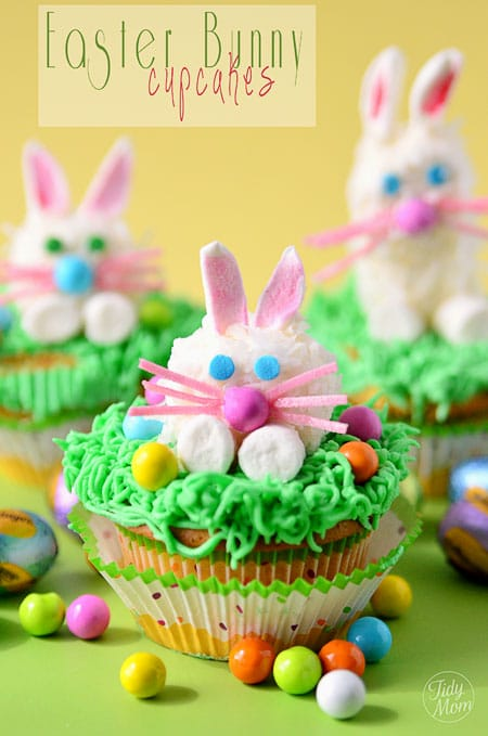 Fun for Easter or Spring! Lemon Filled Marshmallow Easter Bunny Cupcakes recipe at TidyMom.net