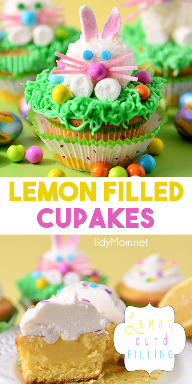 Fun for Easter or Spring! Lemon Filled Cupcakes with Marshmallow Easter Bunny!!  Print the LEMON FILLED CUPCAKES WITH LEMON BUTTERCREAM recipe at TidyMom.net #lemon #lemoncupcakes #lemoncake #lemoncurd #easter #easterbunny #eastercupcakes #eastertreats #spring #recipes