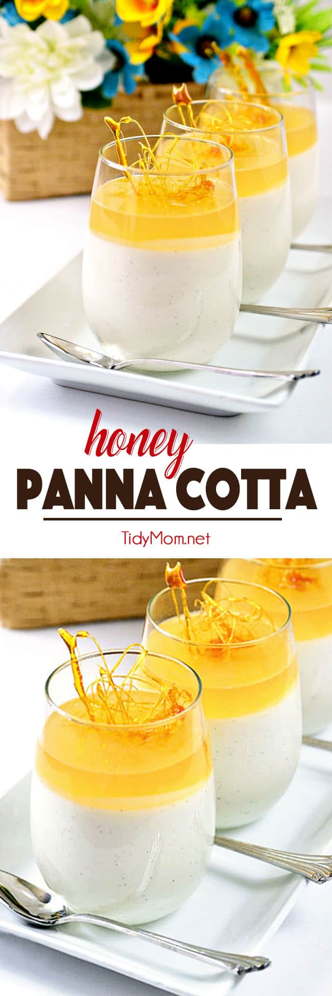 "Honey Panna Cotta  looks like a fancy-schmancy dessert, but actually, it only takes a few minutes to prepare and the rest of the time, the fridge does all the work for you, making it a great ""make ahead"" dessert for a party table, and with it's simple, not too sweet flavor, it would be the perfect ending to a heavy meal.  Get this HONEY PANNA COTTA recipe at TidyMom.net #dessert #pannacotta #honey"