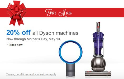 20% off all Dyson Vacuum Cleaners