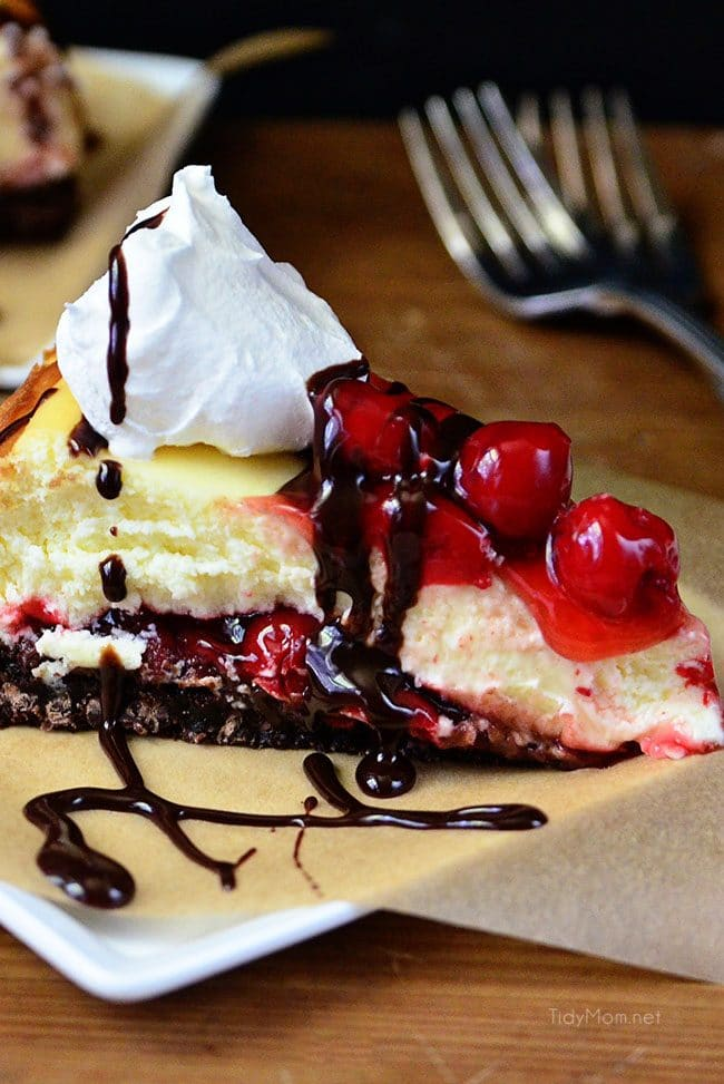 slice of Brownie Cherry Cheesecake