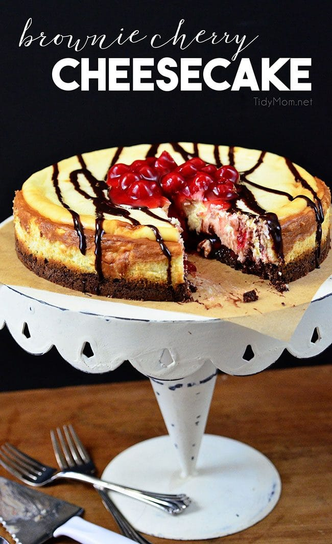 cut Brownie Cherry Cheesecake with a serving missing