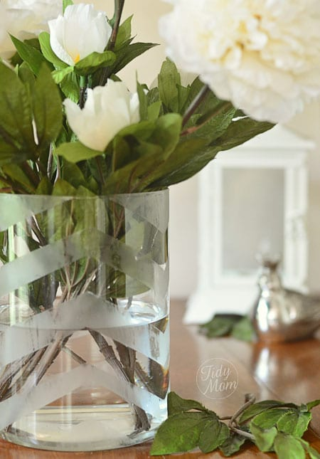 DIY Chevron Etched Vase at TidyMom.net