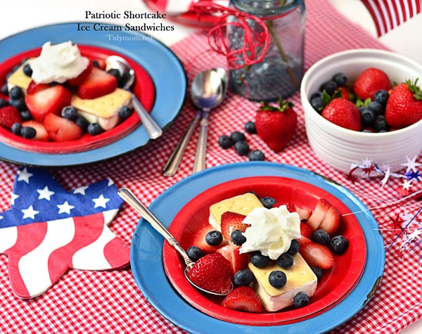 Patriotic Shortcake Ice Cream Sandwiches at TidyMom.net