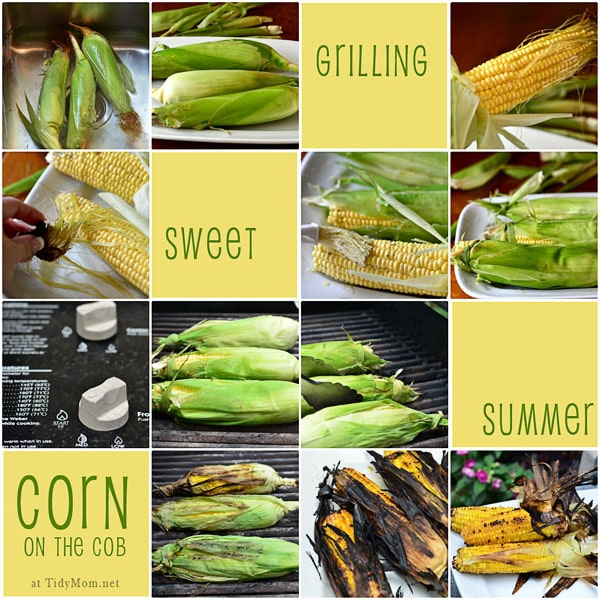 Grilling Corn on the Cob photo collage of steps