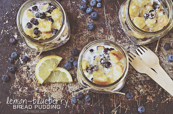 Lemon Blueberry Bread Pudding in a Jar TidyMom.net