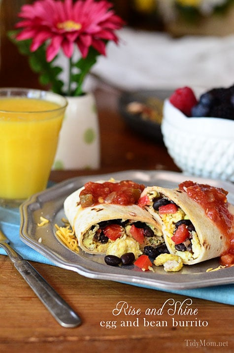 Rise and Shine Egg and Bean Breakfast Burritos at TidyMom.net