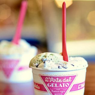 Pistacio and chocolate chip gelato in NYC
