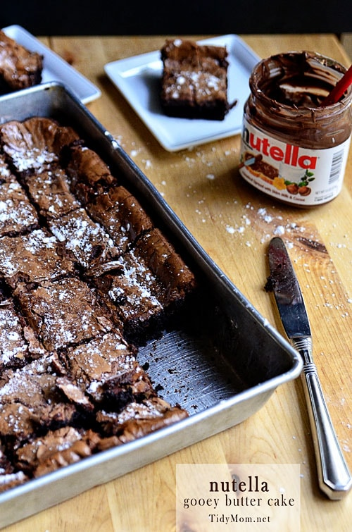 a pan of Nutella Gooey Butter Cake