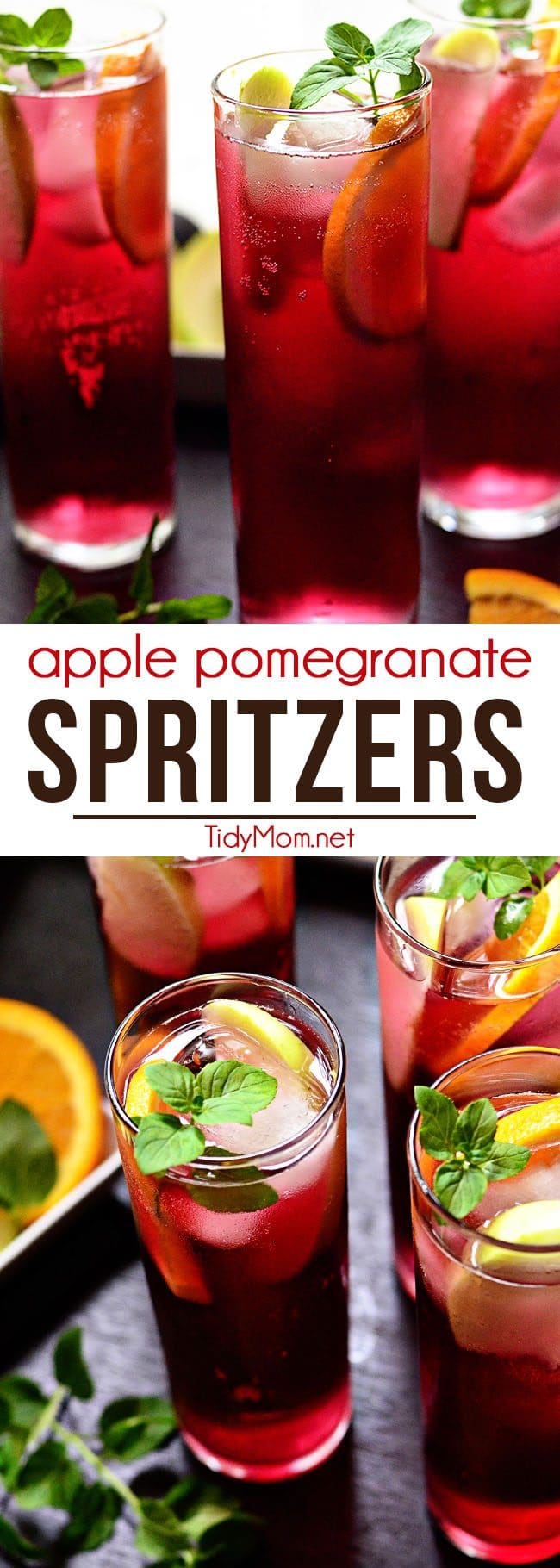 Apple Pomegranate Spritzers are fizzy, fruity and full of antioxidants (hello pomegranate!) and non-alcoholic. You could swap out the lemon-lime soda for white wine if you'd prefer a boozy version. Perfect for any occasion! Print simple and refreshing cocktail recipe at TidyMom.net